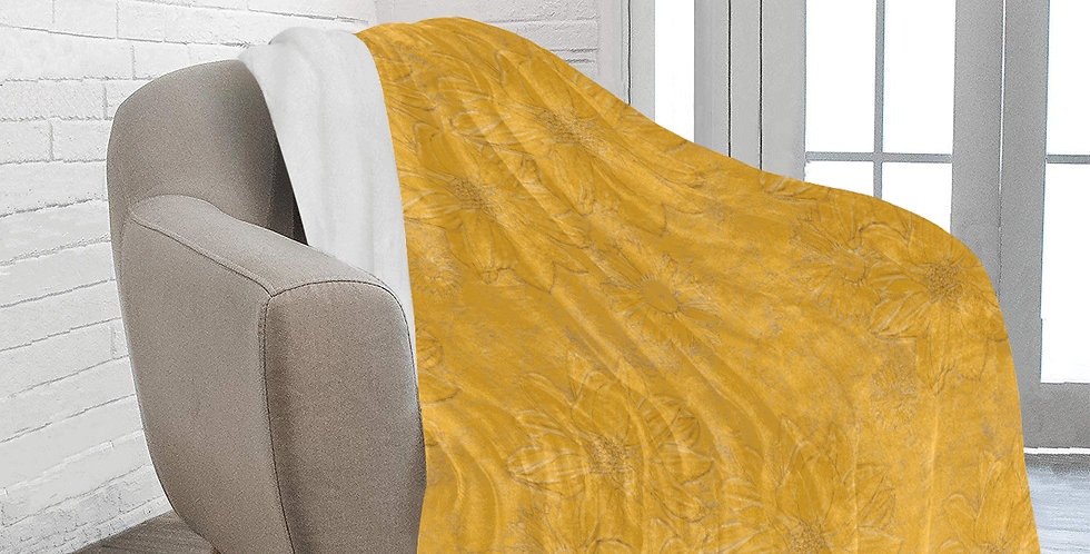 Yellow Embossed Floral - Blanket