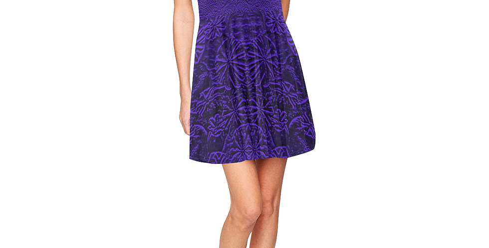 Embossed Poppies Sapphire Blue - Skater Dress