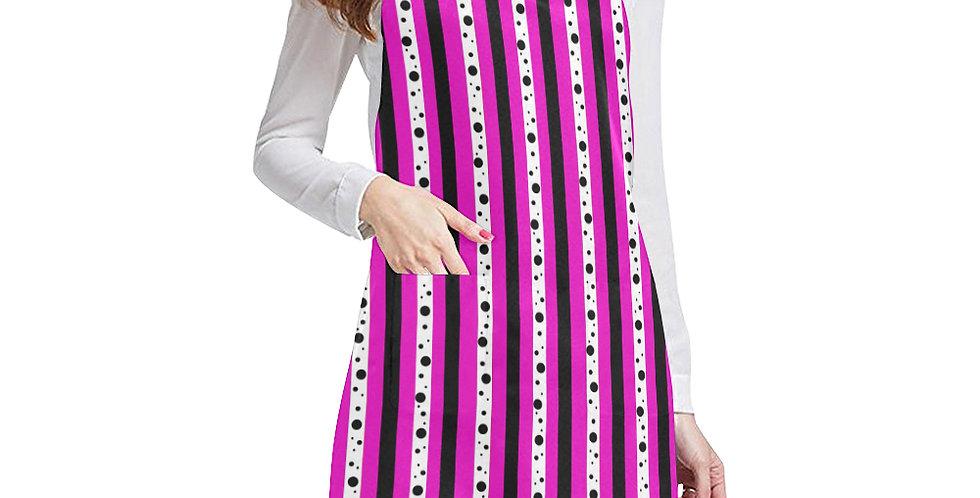 Sweet Pea Passion Stripes Apron - Adjustable