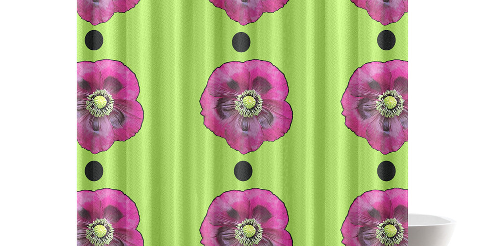 Purple Poppies (Lime Green Background) - Shower Curtain