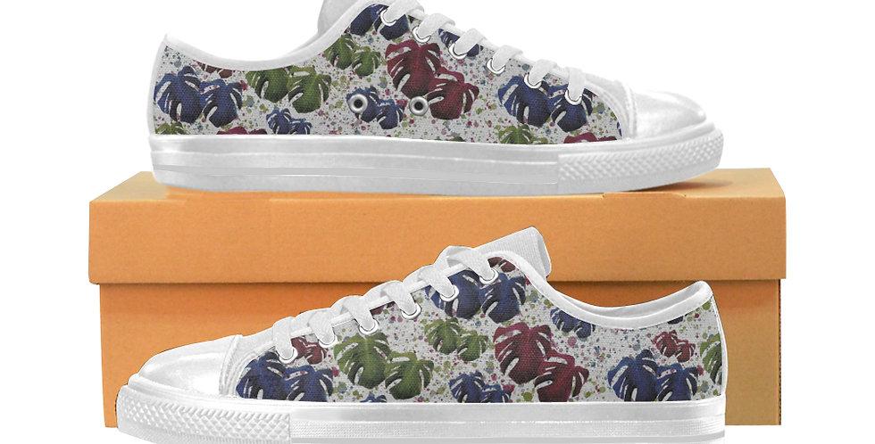 Monstera Leaves - Women's Canvas Sneakers