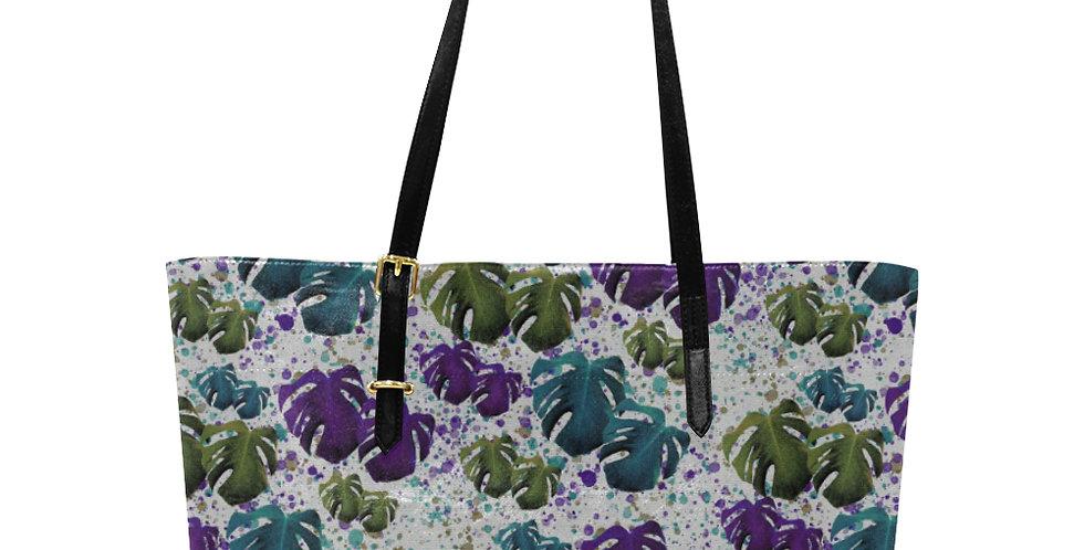 Monstera Teal / Purple - Large Tote Bag