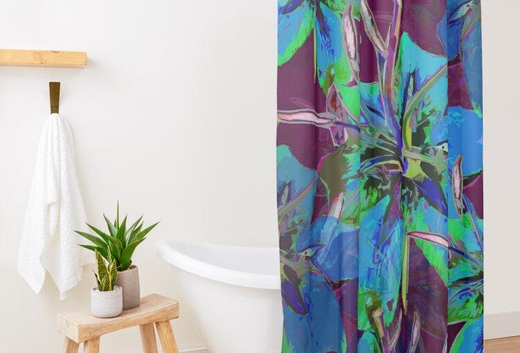 Luscious Liliums - Blue / Purple - Shower Curtain