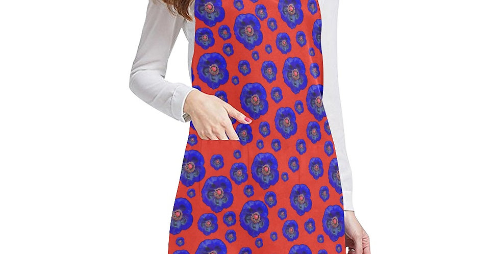 Flower Power Red/Blue Apron - Adjustable