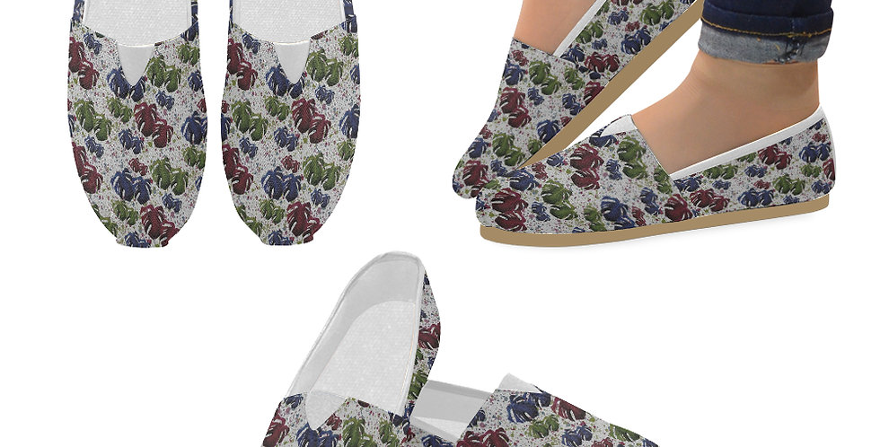 Monstera Leaves Red/Blue - Slip On Canvas Shoes