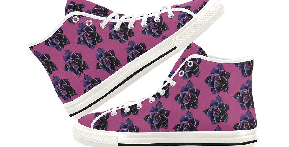 Pink Succulent - Women's High Top Canvas Sneakers