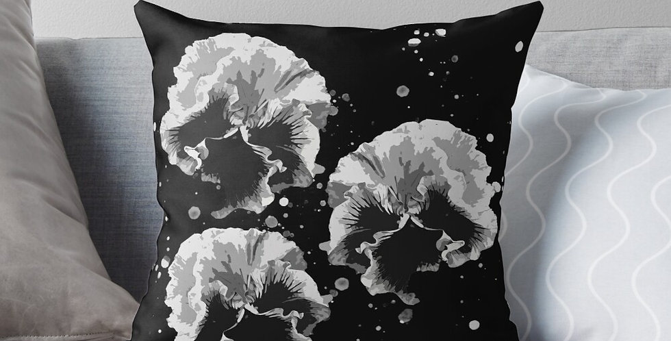 Pansy Moonbeams Black & White - Cushion Cover