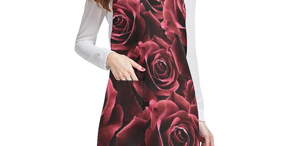 Velvet Roses Red Apron - Adjustable