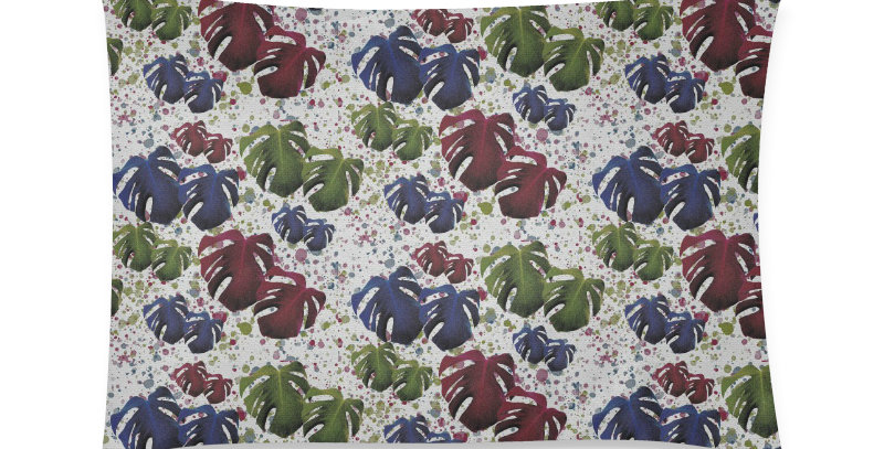 Monstera Leaves - Red & Blue  - Cushion Cover