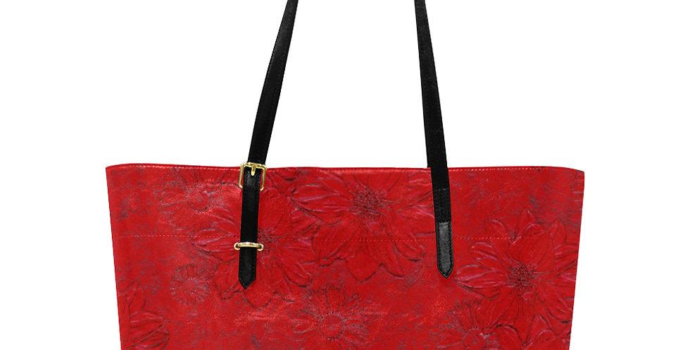 Embossed Floral Red - Large Tote Bag