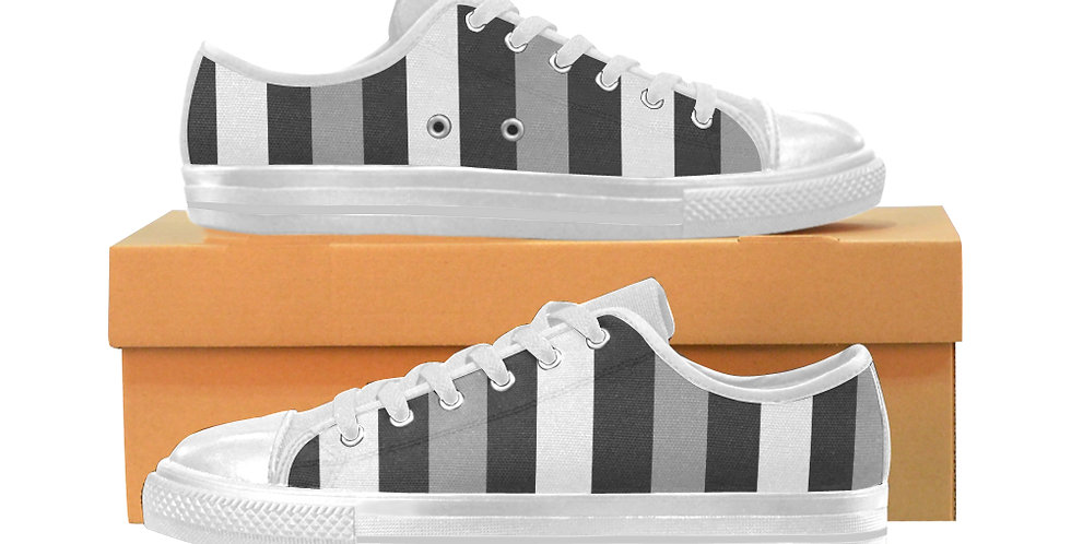 Moody Stripes - Women's Canvas Sneakers