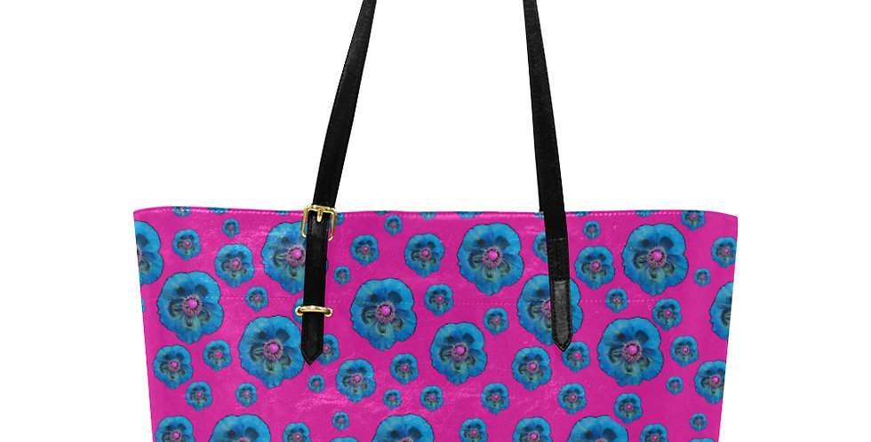 Flower Power Hot Pink & Blue - Large Tote Bag