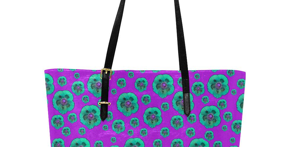Flower Power Mauve & Aqua - Large Tote Bag