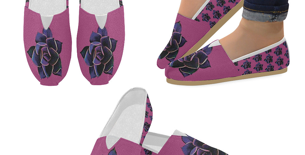 Pink Succulent - Slip On Canvas Shoes