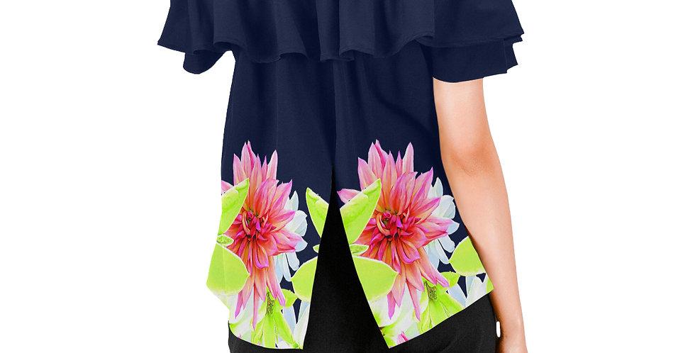 Magnolia Butterflies Boarder - Women's Chiffon Blouse