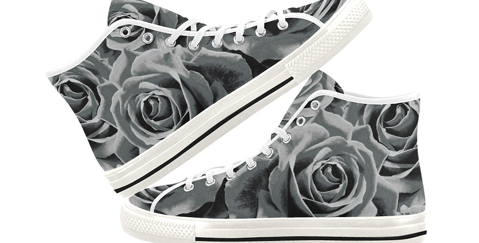 Gypsy Rose Silver Mist - Women's High Top Canvas Sneakers