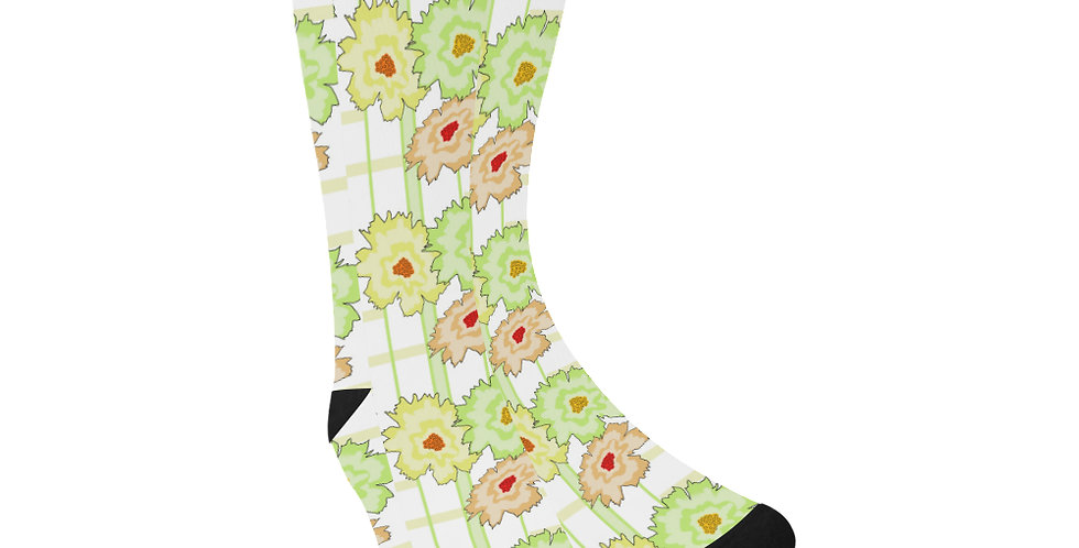Floral Frenzy -Warm Tones - Unisex Socks (Made in Australia)