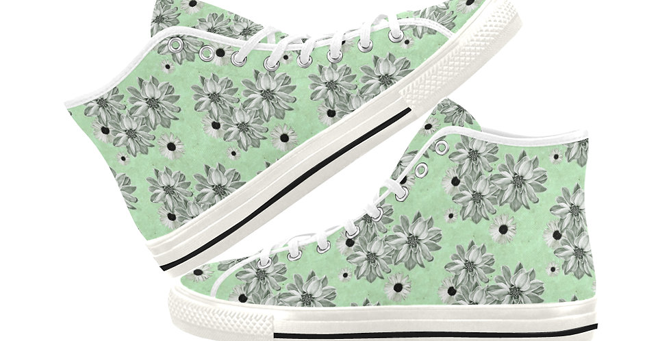 Floral Green - Women's High Top Canvas Sneakers