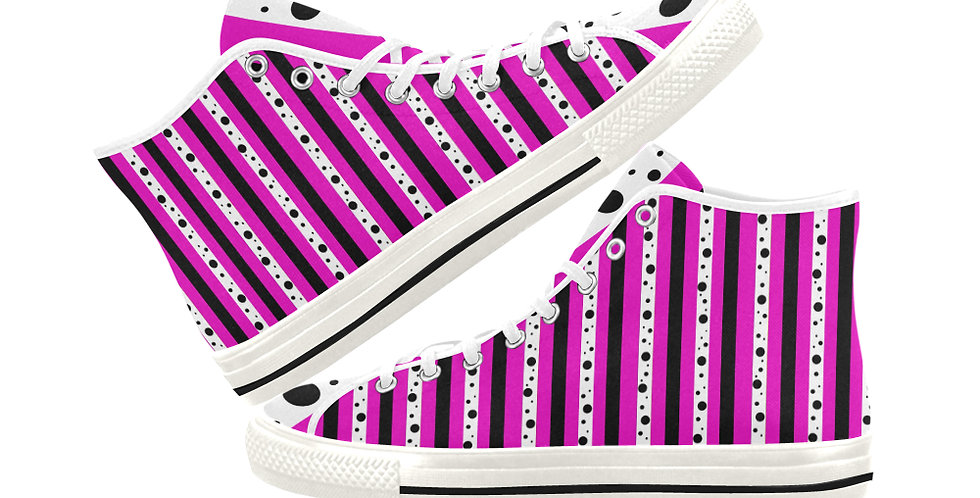 Sweet Pea Passion Stripe - Women's High Top Canvas Sneakers