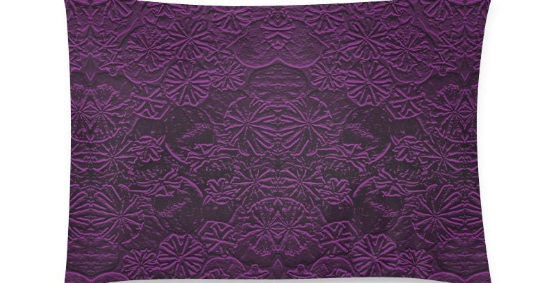 Embossed Poppies Purple - Cushion Cover