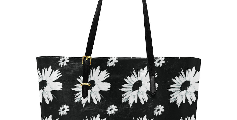 Bunch of Daisies Black & White - Large Tote Bag