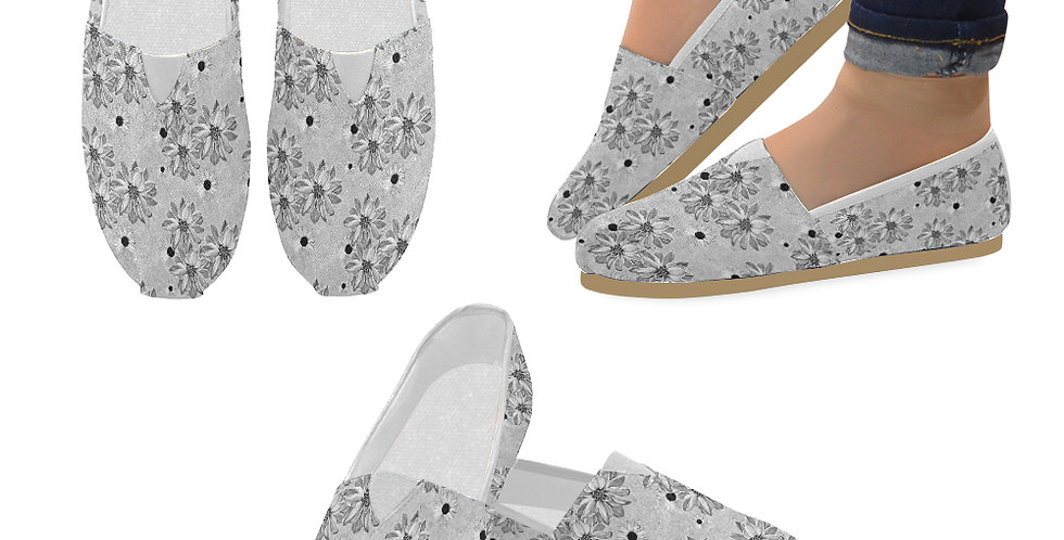 Floral Grey - Slip On Canvas Shoes