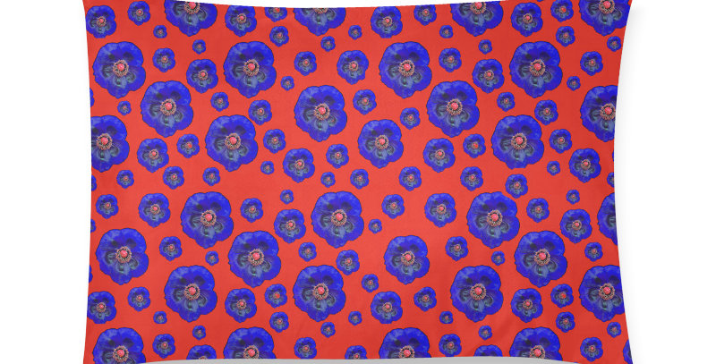 Flower Power red/blue - Cushion Cover