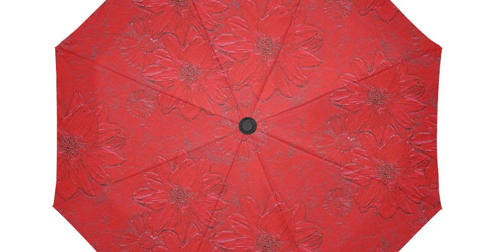 Red Embossed Floral - Botanical Umbrella