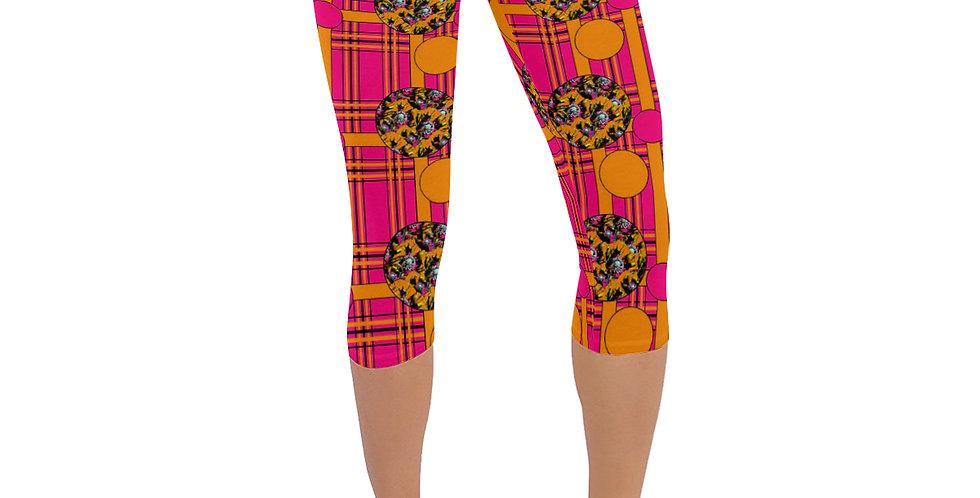 Tartan & Poppies - Orange & Pink - Pattern - Leggings 3/4