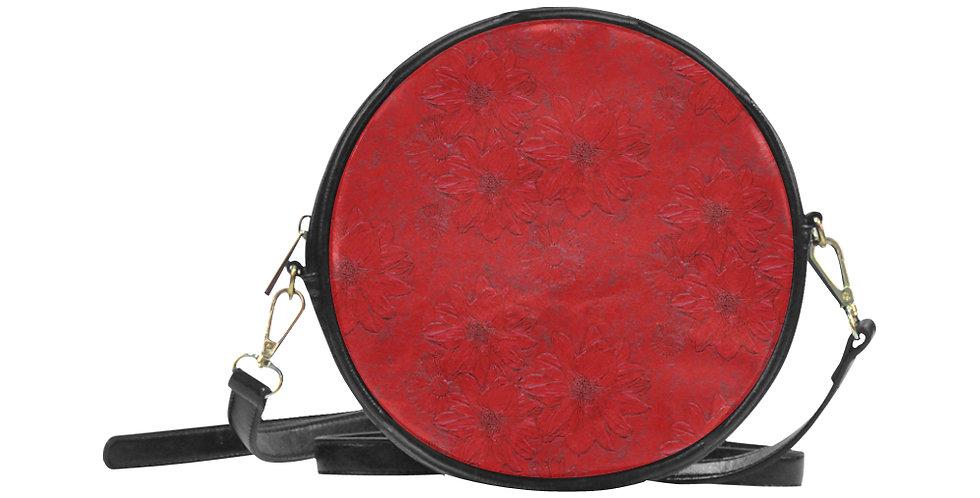 Red Embossed Floral - Round Messenger Bag