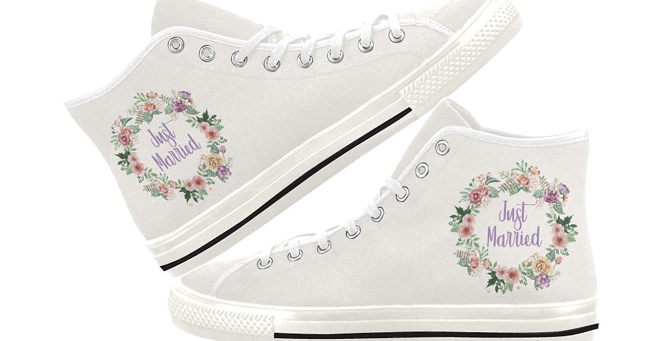 Floral Wreath Just Married - Women's High Top Canvas Sneakers