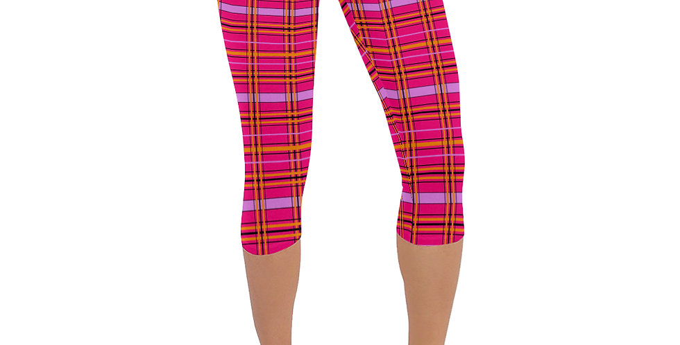 Tartan & Poppies - Orange & Pink - Tartan - Leggings 3/4