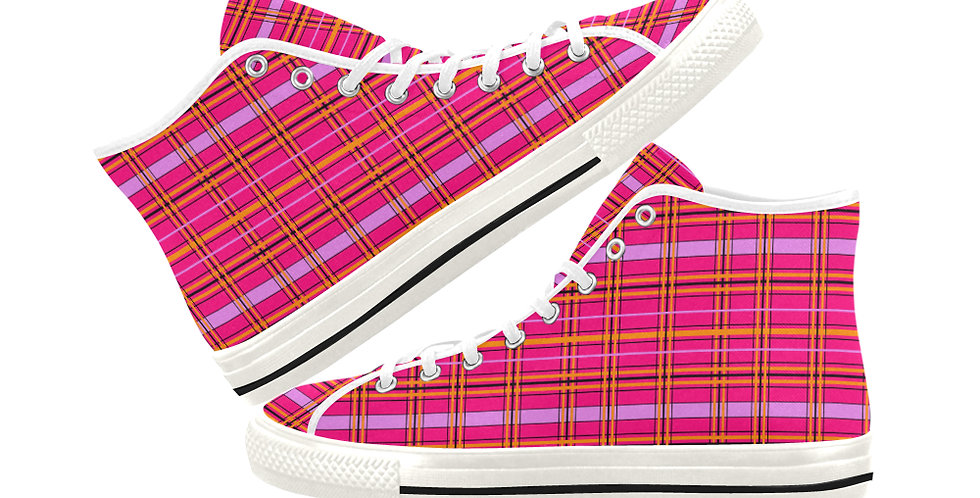 Tartan & Poppies - Orange & Pink - Tartan - Women's High Top Ca