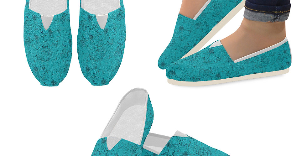 Embossed Floral Blue - Slip On Canvas Shoes