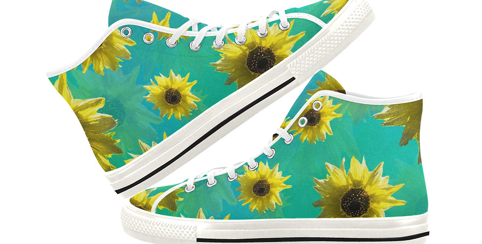 Sunshine On My Shoulder - Women's High Top Canvas Sneakers