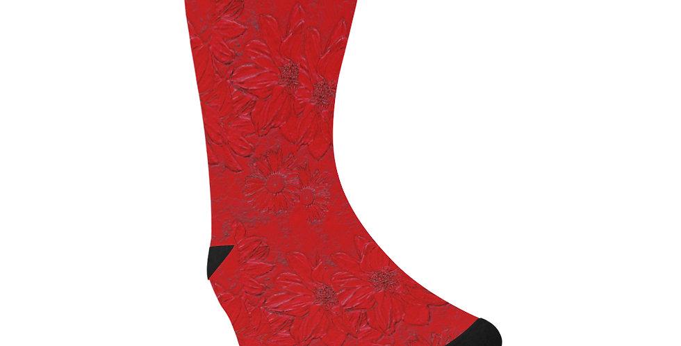 Red Embossed Floral - Unisex Socks (Made in Australia)