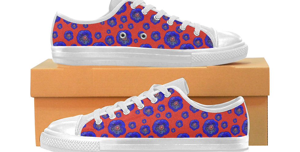 Poppies Red/Blue - Women's Canvas Sneakers