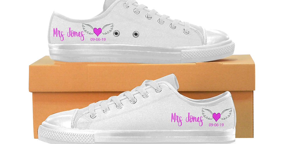 White with Pink Heart and Wings - Women's Canvas Sneakers