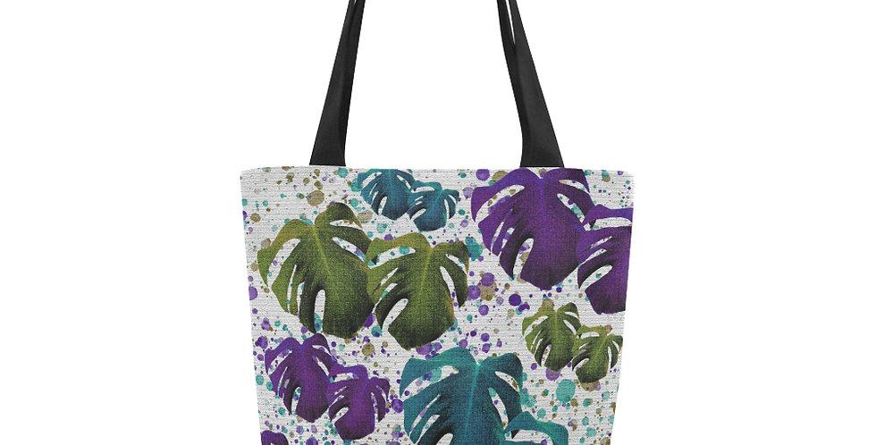Monstera Leaves Teal & Purple - Tote Bag