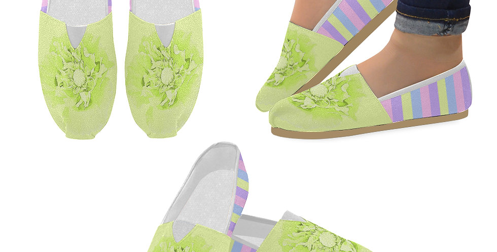 Pastel Poppies - Yellow Poppy and Pastel Stripes - Slip On Canvas Shoes