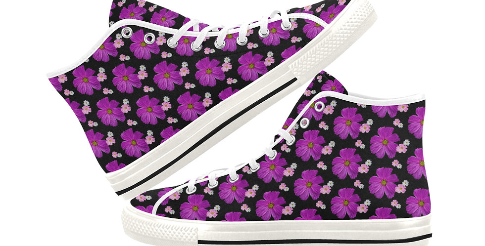 Cosmos Chaos - Bright Pink - Women's High Top Canvas Sneakers
