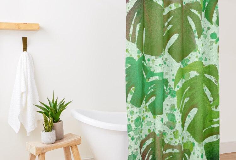 Monstera Leaves Jungle - Shower Curtain