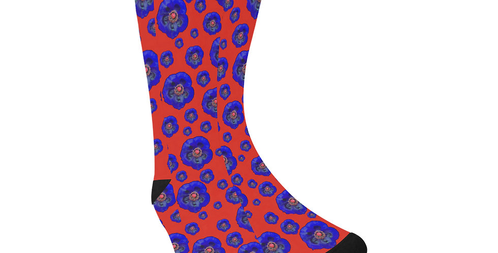 Poppies Red/Blue - Unisex Socks (Made in Australia)