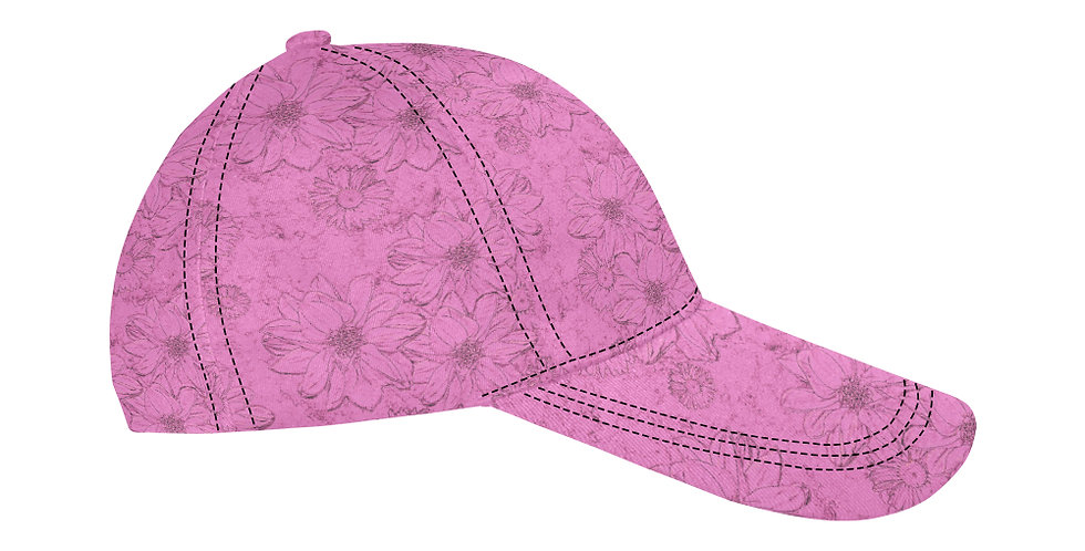 Embossed Floral Soft Pink - Baseball Cap