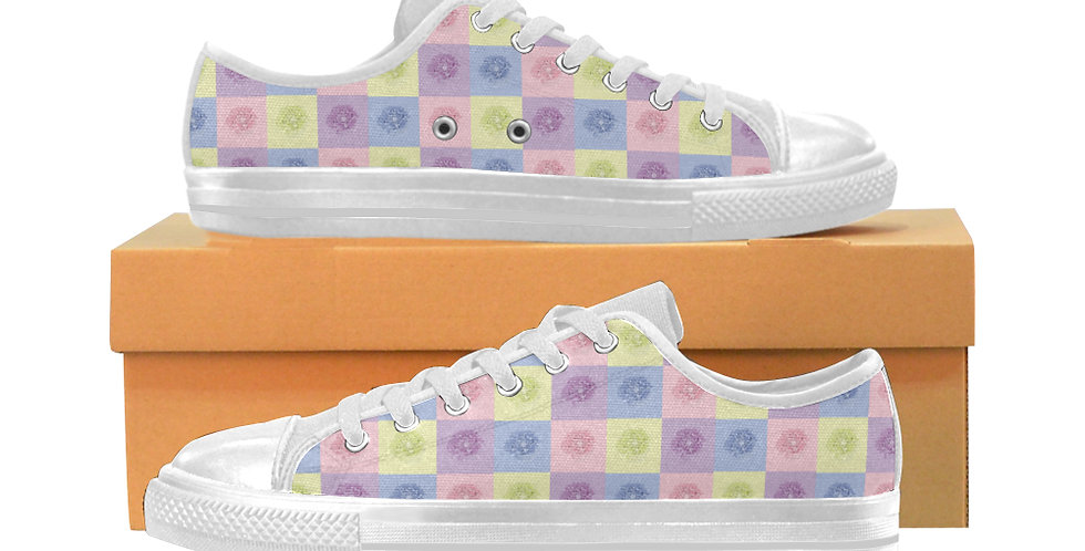 Pastel Poppies - Women's Canvas Sneakers