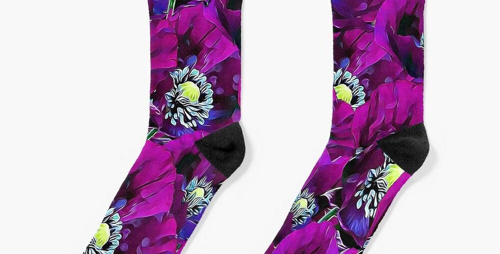 Poppies Purple - Socks