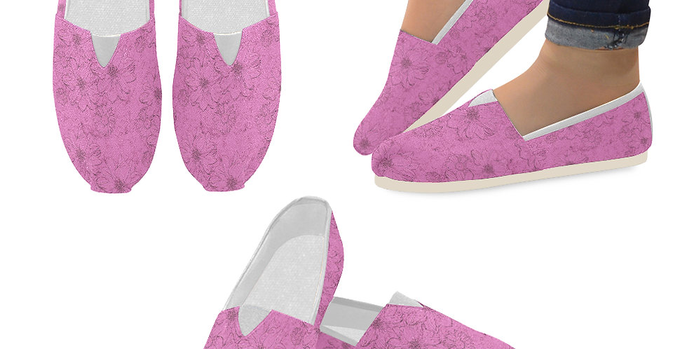 Embossed Floral Pink - Slip On Canvas Shoes