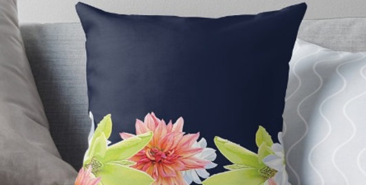 Magnolia Butterflies Boarder - Cushion Cover