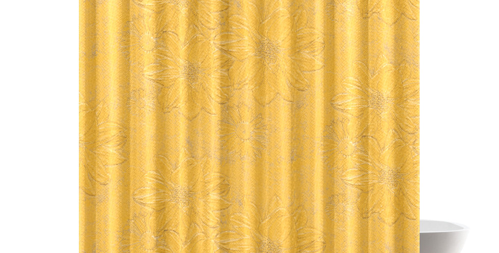 Yellow Embossed Floral - Shower Curtain