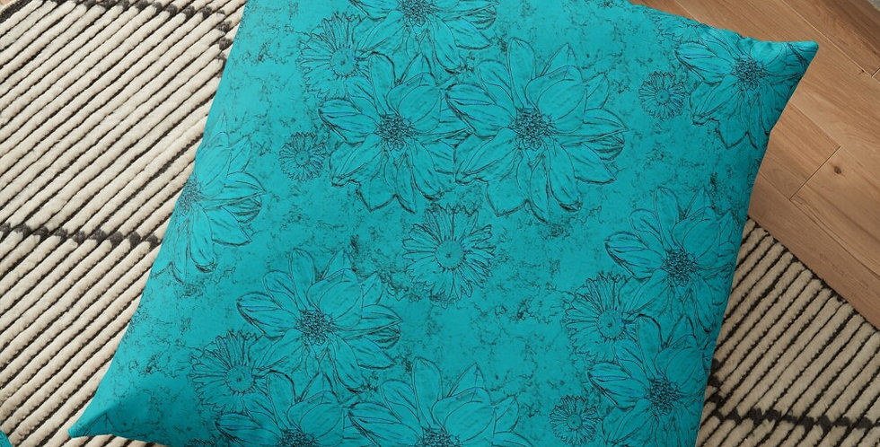 Embossed Floral Blue - Cushion Cover
